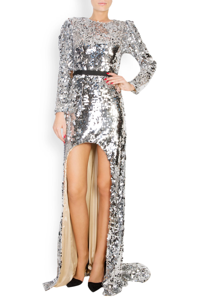 Kim asymmetric open-back sequined silk gown Manuri image 0