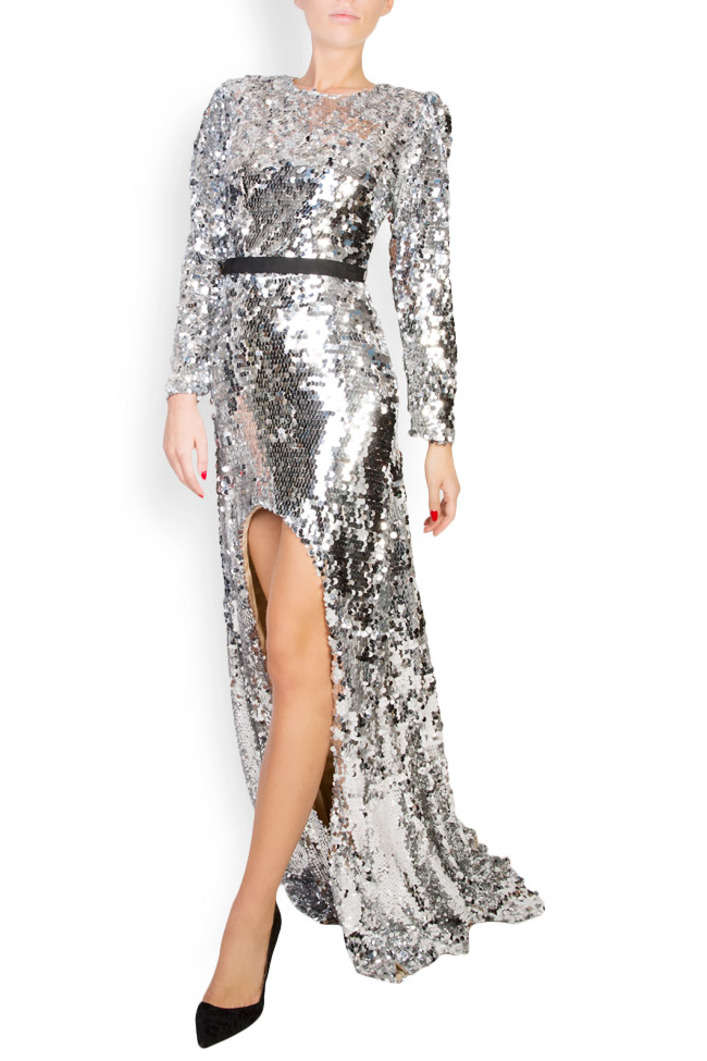 Kim asymmetric open-back sequined silk gown Manuri image 1