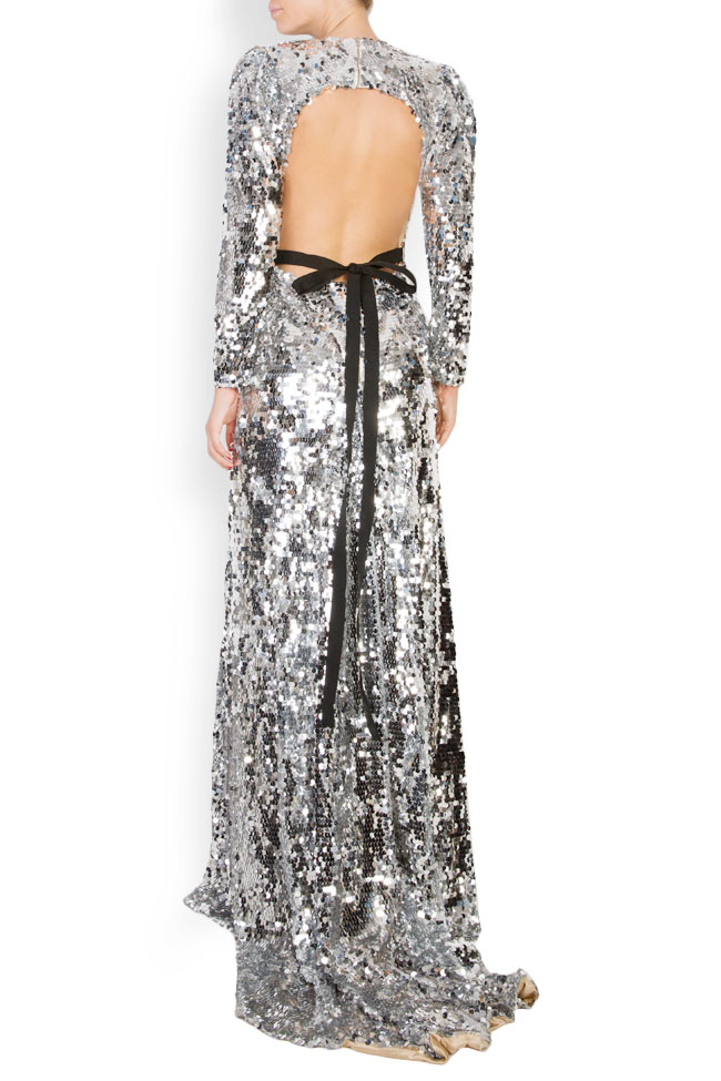Kim asymmetric open-back sequined silk gown Manuri image 2