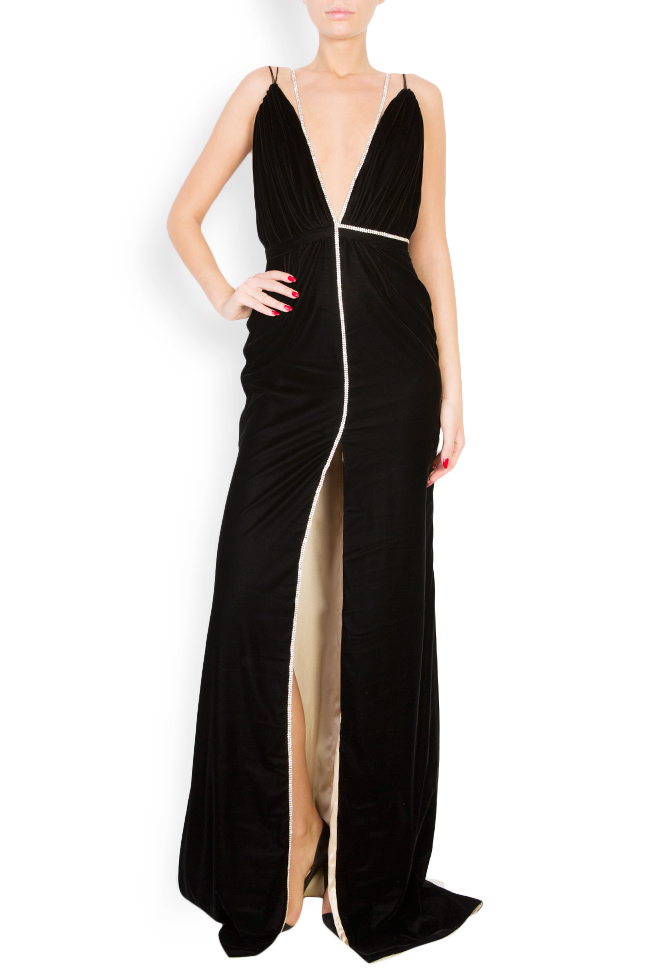 Martha open-back embellished silk velvet gown Manuri image 0