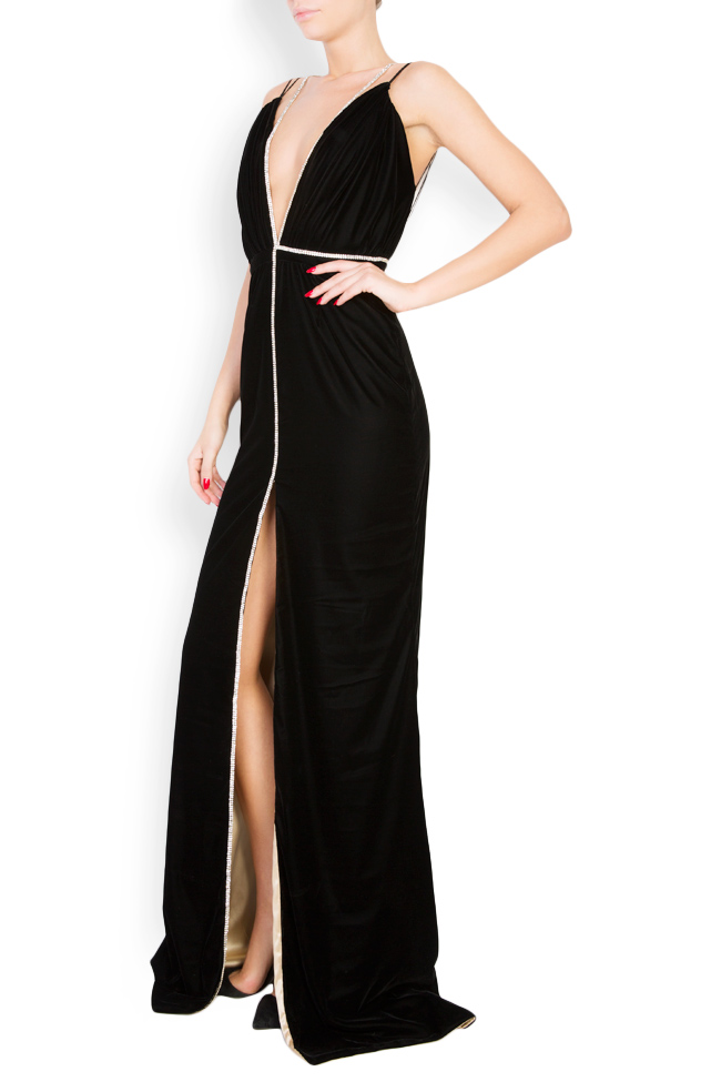 Martha open-back embellished silk velvet gown Manuri image 1