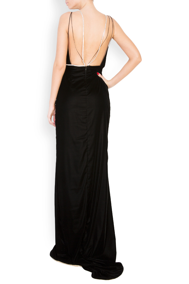 Martha open-back embellished silk velvet gown Manuri image 2