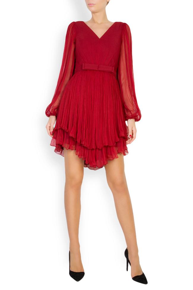 Asymmetric silk-mousseline mini dress Maia Ratiu image 0