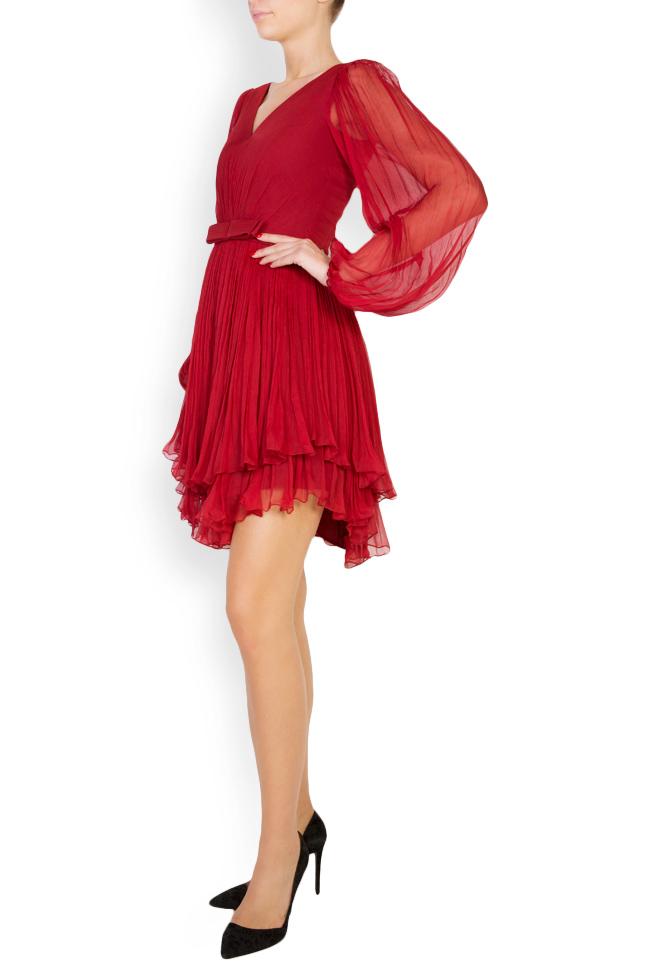 Asymmetric silk-mousseline mini dress Maia Ratiu image 1