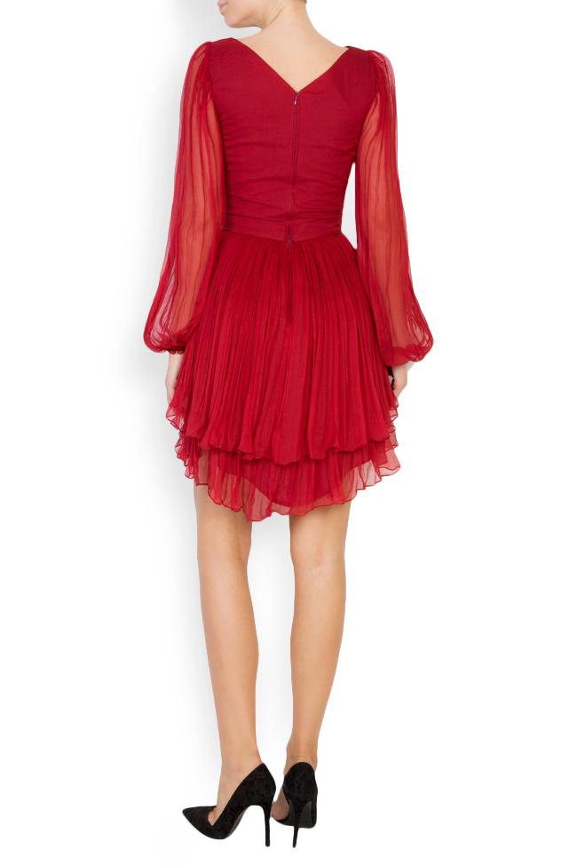 Asymmetric silk-mousseline mini dress Maia Ratiu image 2