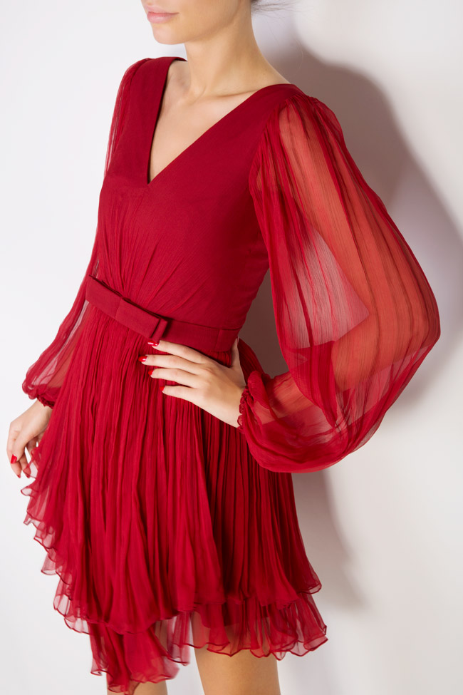 Asymmetric silk-mousseline mini dress Maia Ratiu image 3