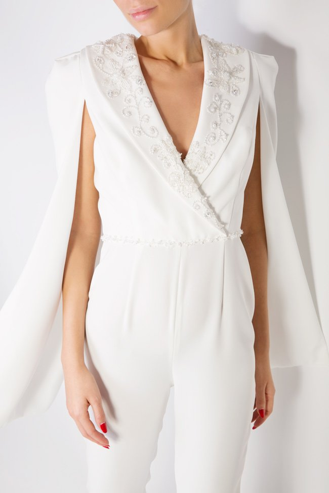 Kristel pearl embellished cape-effect crepe jumpsuit M Marquise image 3