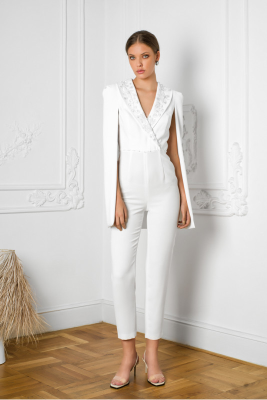 Kristel pearl embellished cape-effect crepe jumpsuit M Marquise image 4