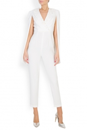 M Marquise Kristel pearl embellished cape-effect crepe jumpsuit