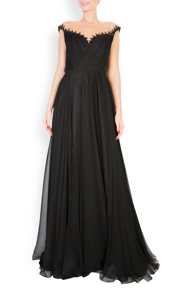 Etolia embellished silk tulle-paneled gown M Marquise image 0