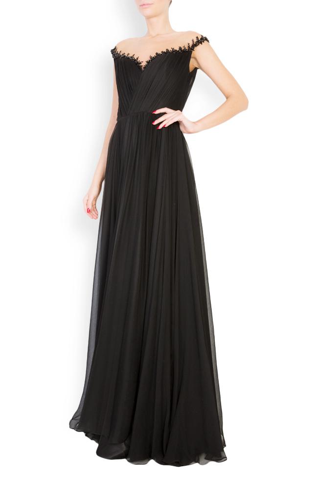 Etolia embellished silk tulle-paneled gown M Marquise image 1