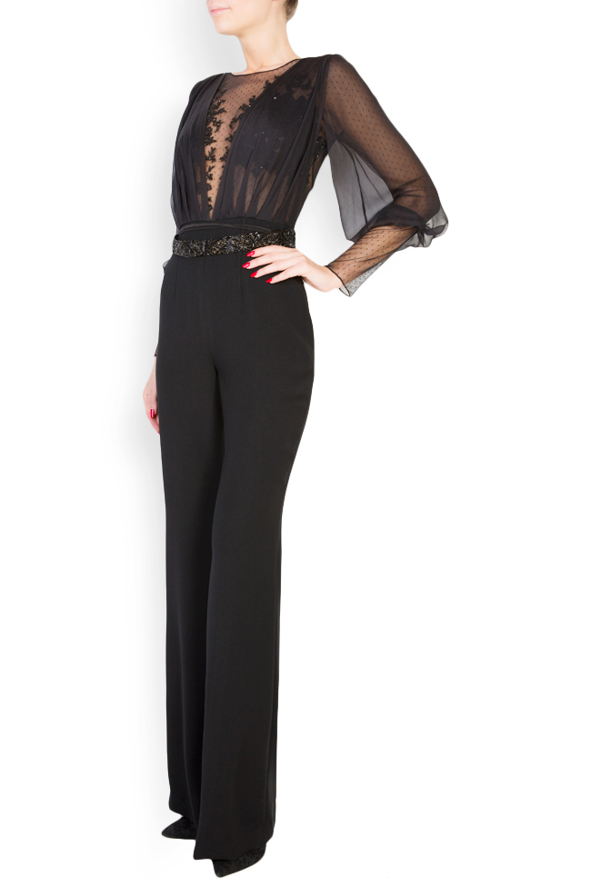 Veda embellished silk crepe tulle jumpsuit M Marquise image 1