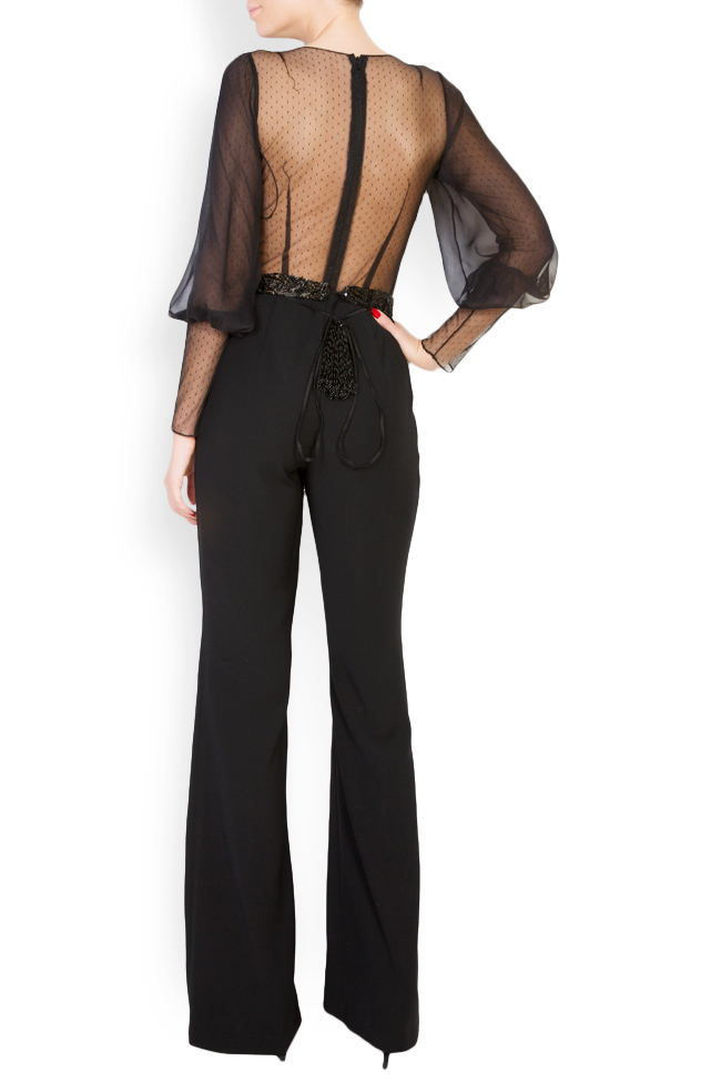 Veda embellished silk crepe tulle jumpsuit M Marquise image 2