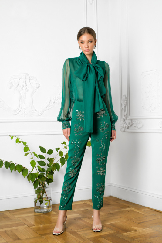 Ilma embellished crepe pants M Marquise image 5