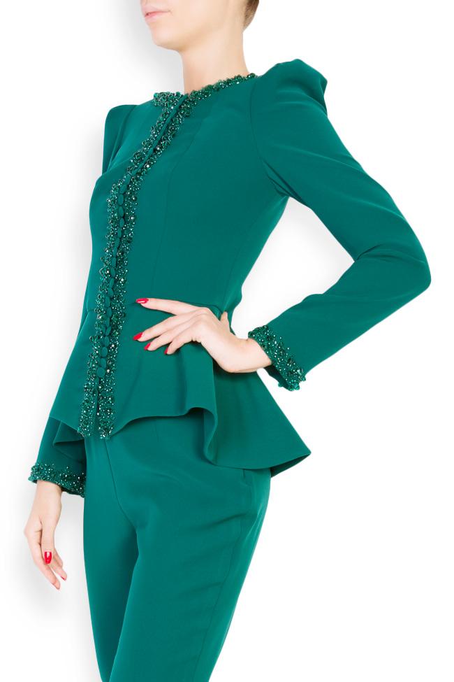Xenia embellished crepe peplum blazer M Marquise image 1