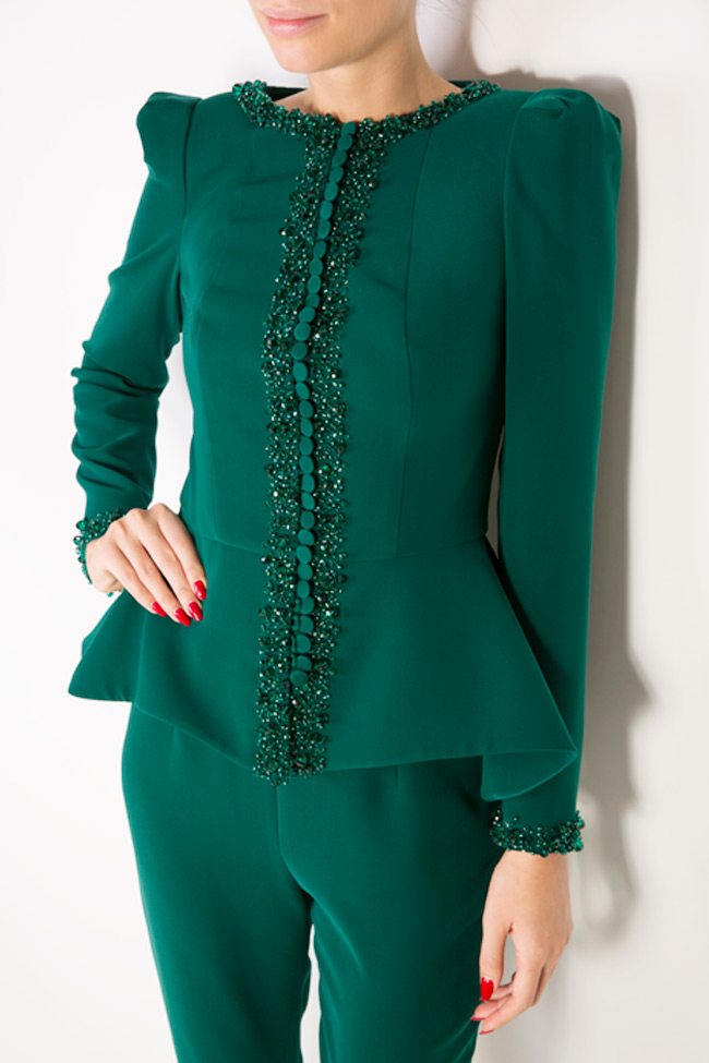 Xenia embellished crepe peplum blazer M Marquise image 3