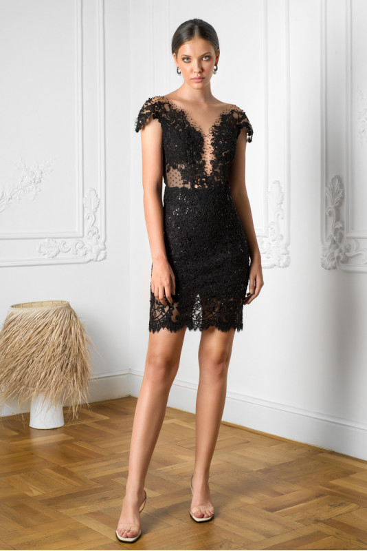 Ranya embroidered tulle and lace dress M Marquise image 4