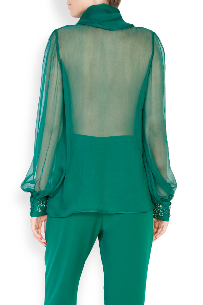 Bluza din voal de matase brodata manual cu cristale Ilma  M Marquise imagine 2