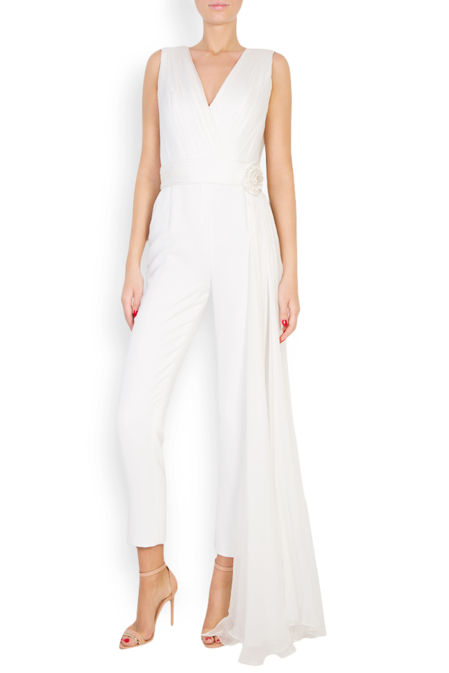 Cleo embellished ruffled silk-blend crepe jumpsuit M Marquise image 0
