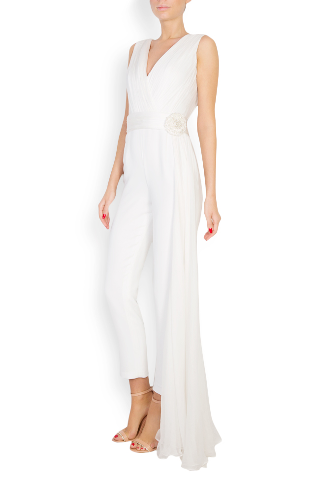 Cleo embellished ruffled silk-blend crepe jumpsuit M Marquise image 1