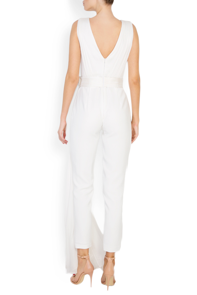 Cleo embellished ruffled silk-blend crepe jumpsuit M Marquise image 2