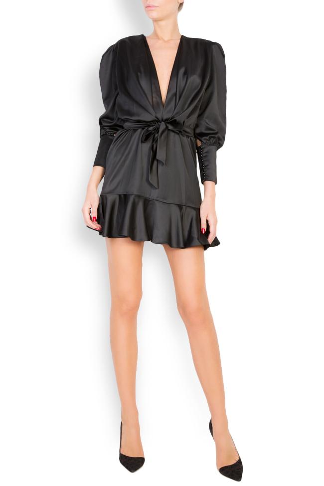 Wrap-effect silk-blend satin mini dress Lia Aram image 0