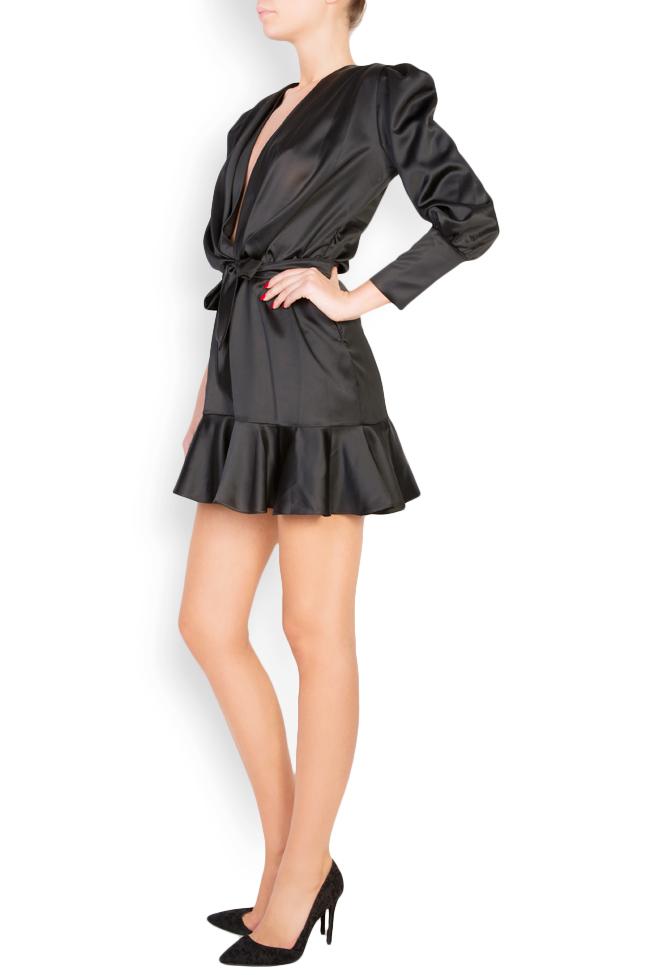 Wrap-effect silk-blend satin mini dress Lia Aram image 1