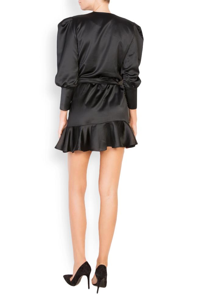 Wrap-effect silk-blend satin mini dress Lia Aram image 2