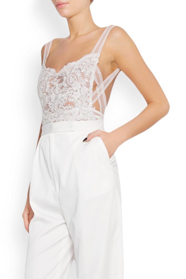 Embellished lace tulle apron top Lia Aram image 1