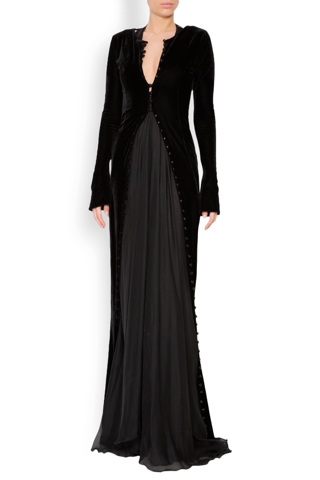 Button-detailed silk velvet gown Lia Aram image 1