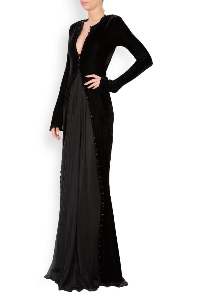Button-detailed silk velvet gown Lia Aram image 2