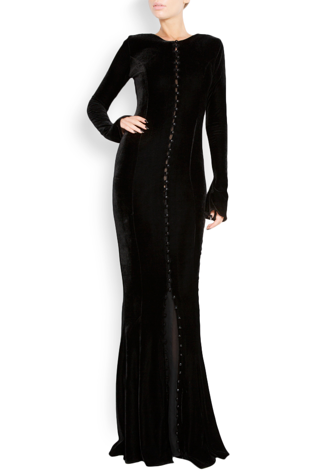 Button-detailed silk velvet gown Lia Aram image 0