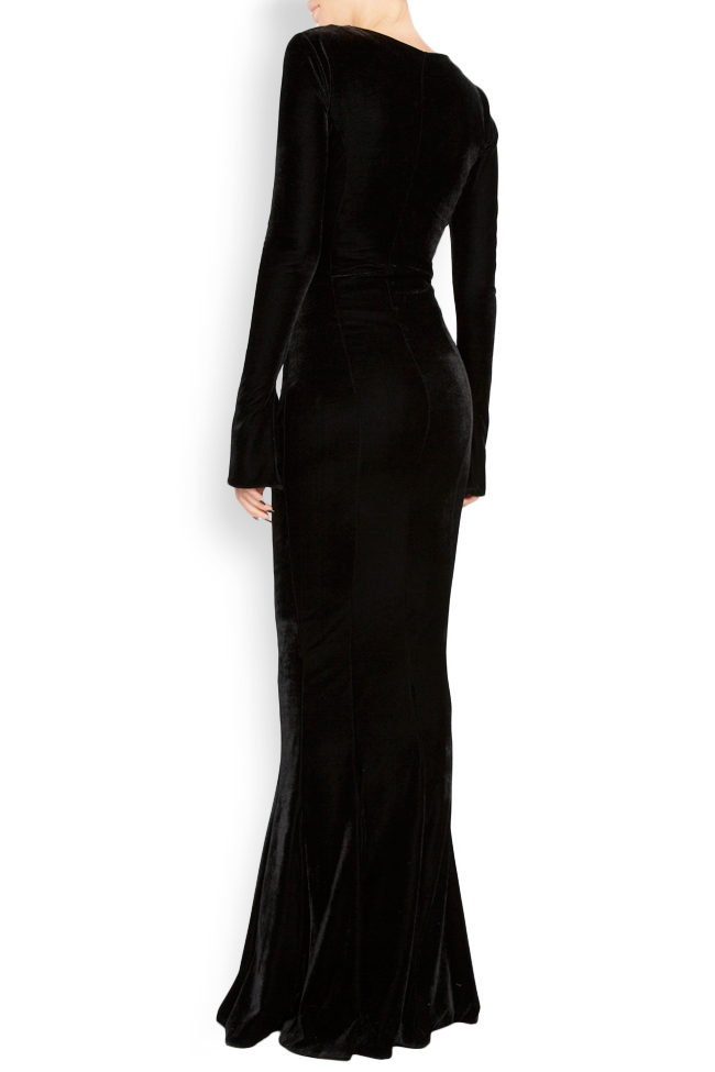 Button-detailed silk velvet gown Lia Aram image 3