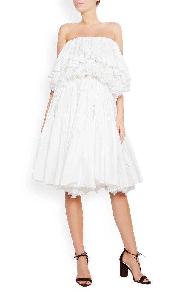 Strapless lace-paneled ruffled cotton-taffeta dress Lia Aram image 0