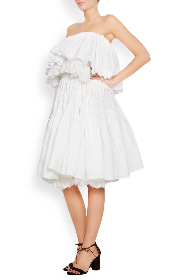 Strapless lace-paneled ruffled cotton-taffeta dress Lia Aram image 1