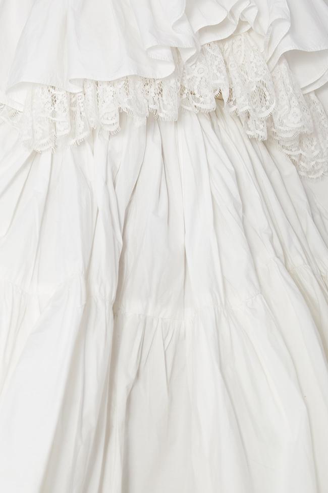 Strapless lace-paneled ruffled cotton-taffeta dress Lia Aram image 4