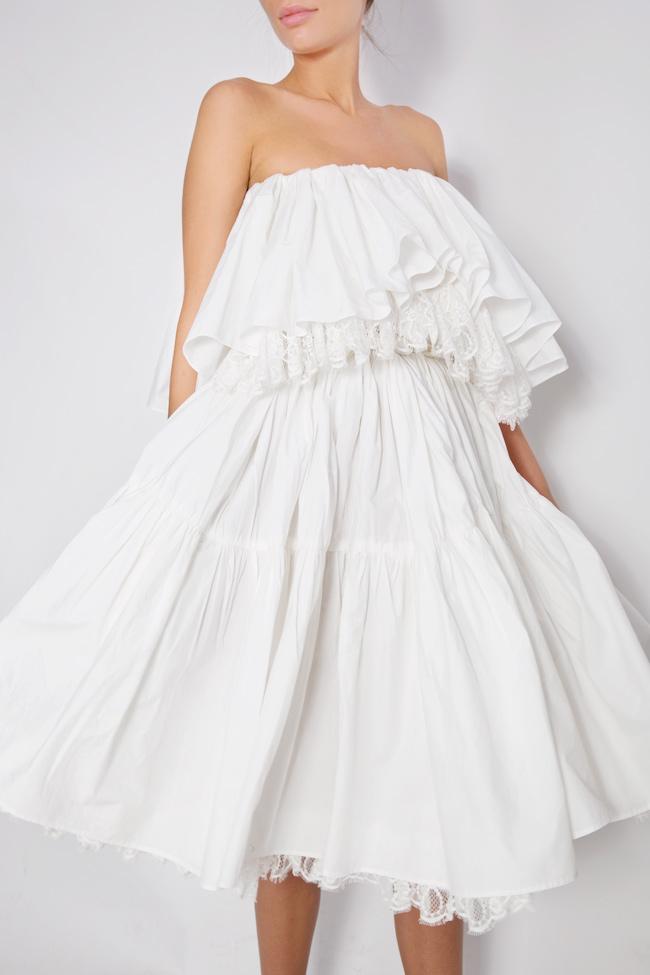Strapless lace-paneled ruffled cotton-taffeta dress Lia Aram image 3