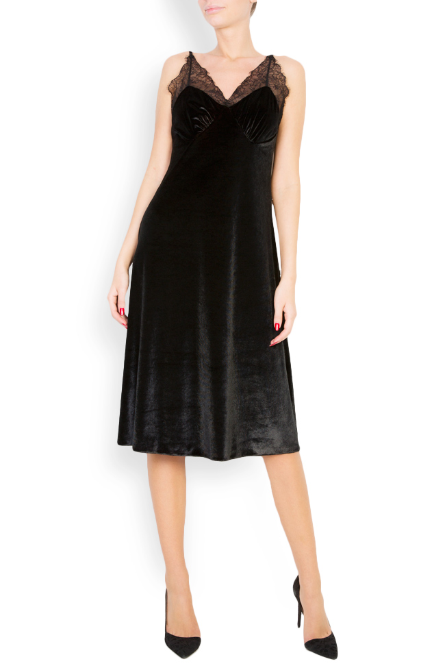 Lace-trimmed silk-blend velvet midi dress Lia Aram image 0