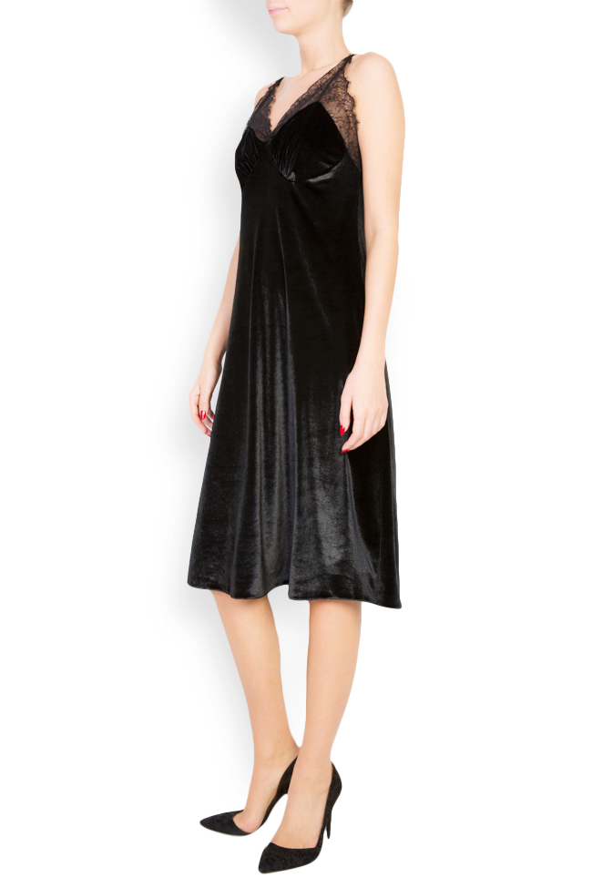 Lace-trimmed silk-blend velvet midi dress Lia Aram image 1
