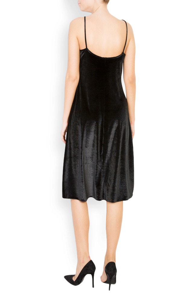 Lace-trimmed silk-blend velvet midi dress Lia Aram image 2
