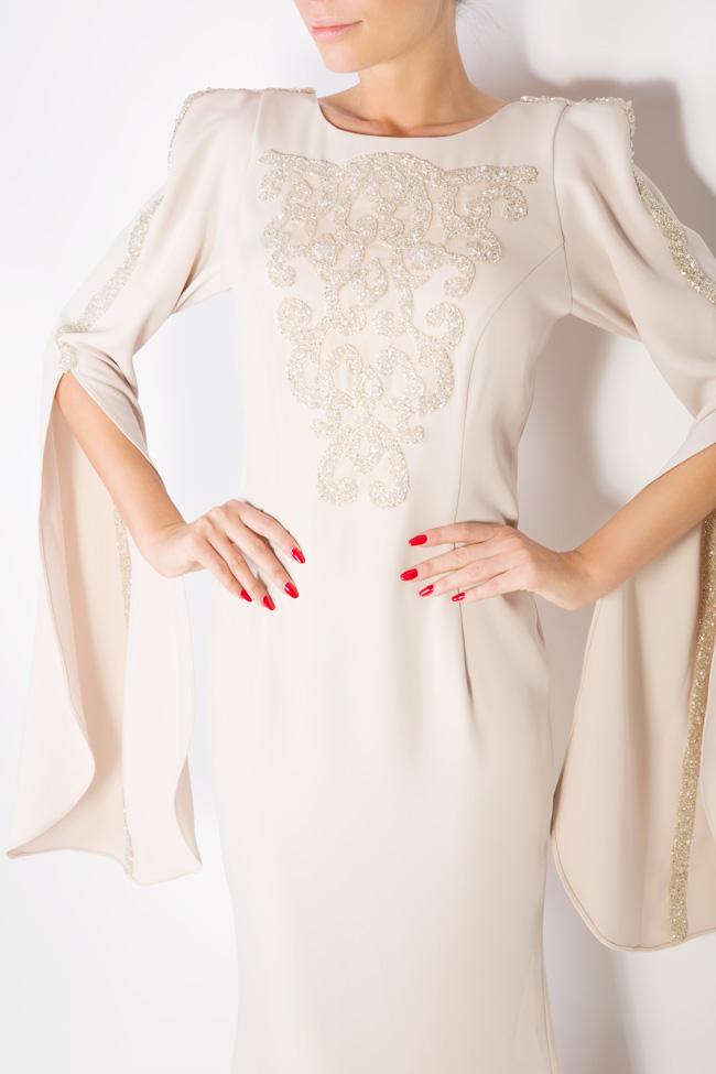 Rochie din crep cu aplicatii din cristale si spatele gol Atelier Maria Iftimoaie imagine 3