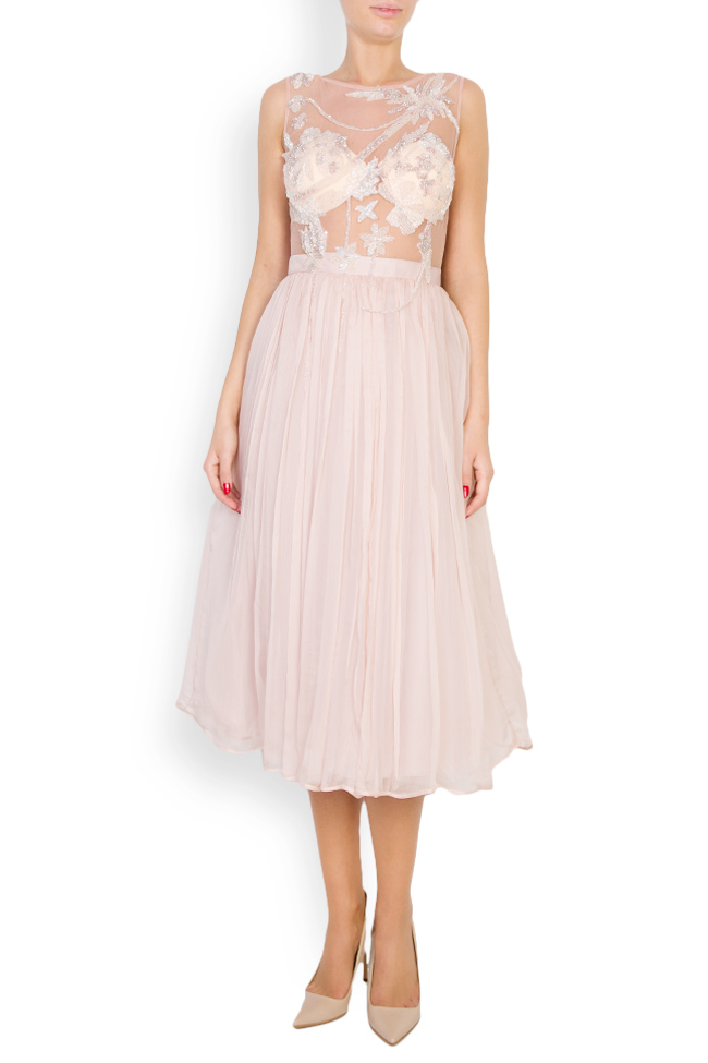 Embellished tulle-paneled silk-mousseline gown Atelier Maria Iftimoaie image 0