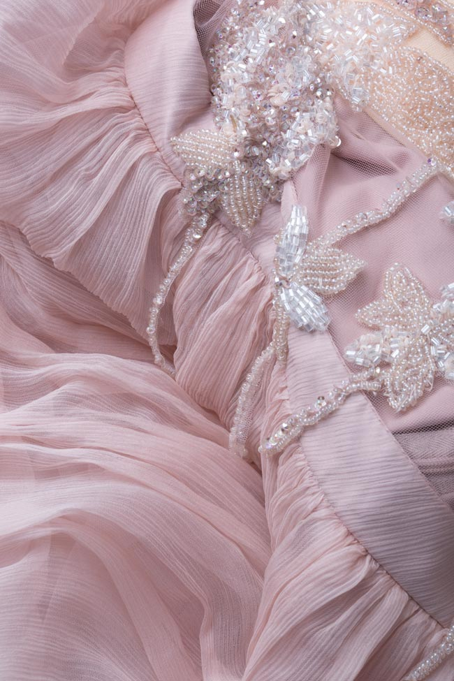 Embellished tulle-paneled silk-mousseline gown Atelier Maria Iftimoaie image 4