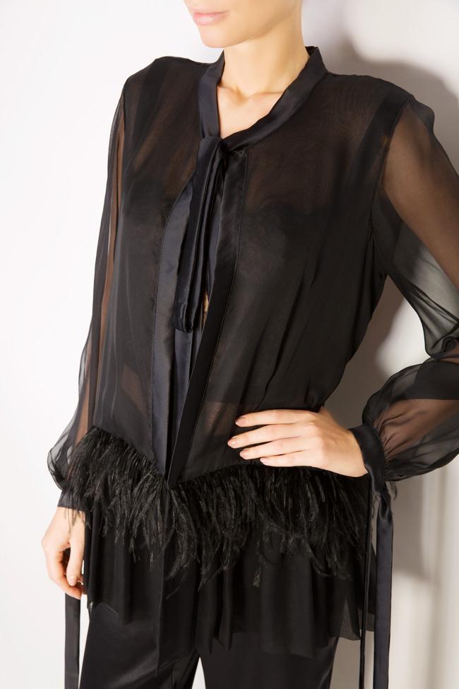Chemise en soie avec plumes d'autruche Aureliana image 3