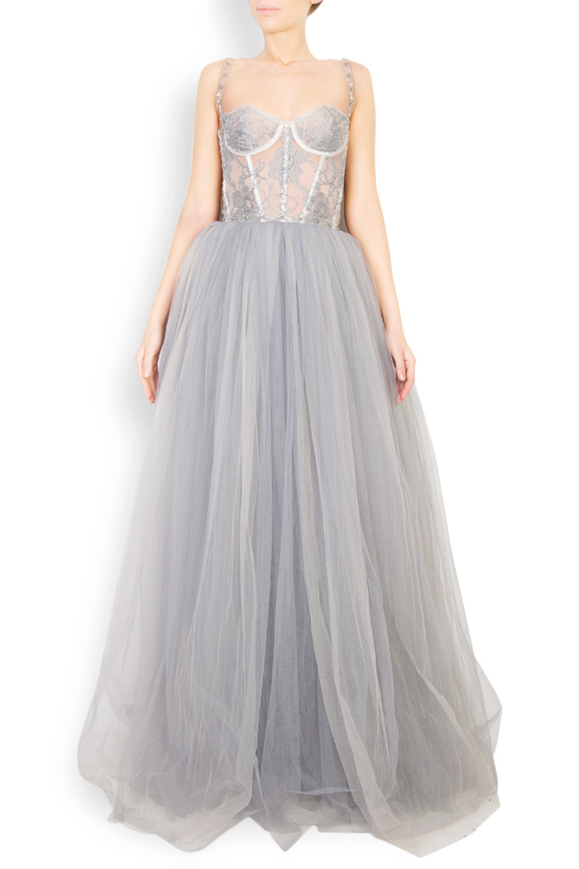 Embellished Chantilly-lace tulle gown Aureliana image 0