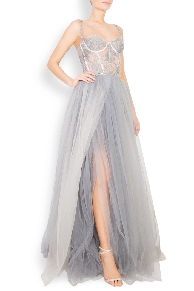 Embellished Chantilly-lace tulle gown Aureliana image 1
