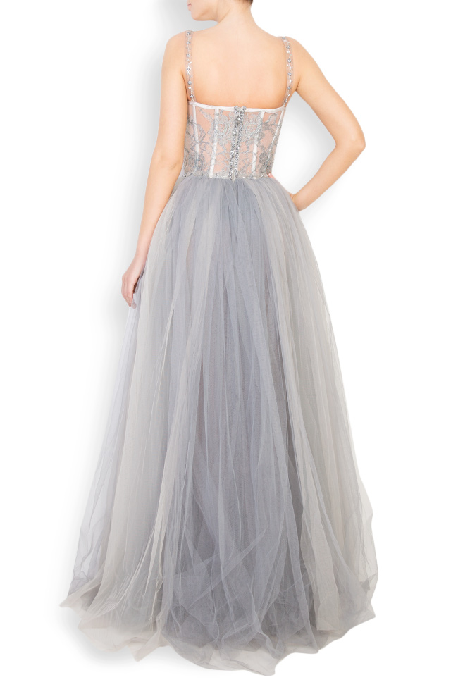 Embellished Chantilly-lace tulle gown Aureliana image 2
