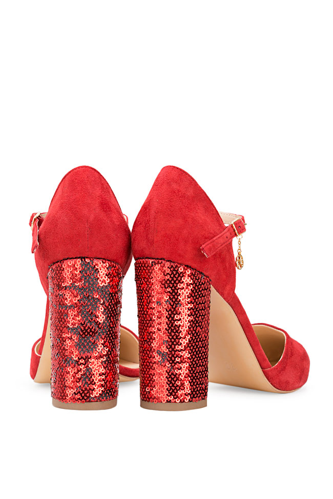 Pantofi din piele intoarsa si paiete Remember Me Hannami imagine 2