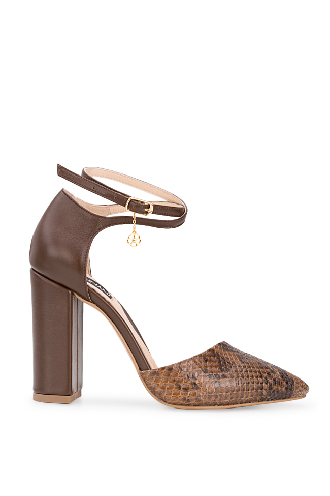 Snake Preview snake-effect leather pumps Hannami image 0