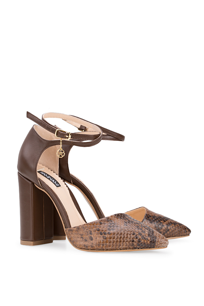 Snake Preview snake-effect leather pumps Hannami image 1